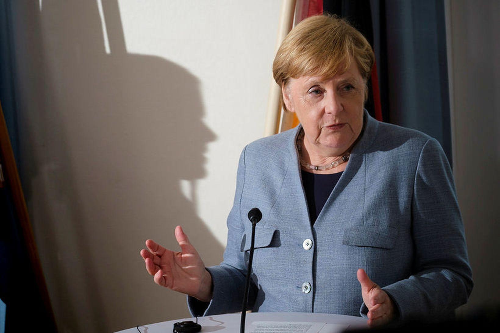 Angela Merkel Þýskalandskanslari á blaðamannafundi með Katrínu Jakobsdóttur forsætisráðherra á …