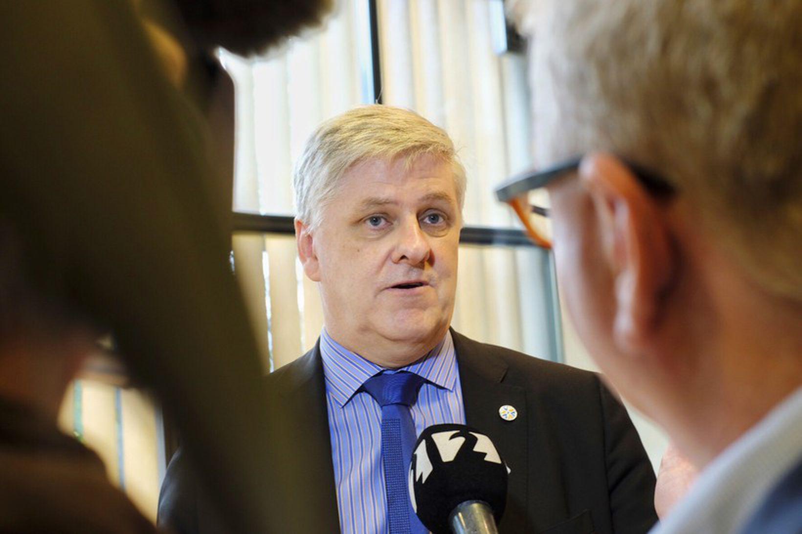 Benedikt Jóhannesson í Alþingishúsinu í morgun.