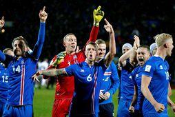 Kári Árnason, Hannes Þór Halldórsson og Ragnar Sigurðsson fagna eftir góðan sigur.
