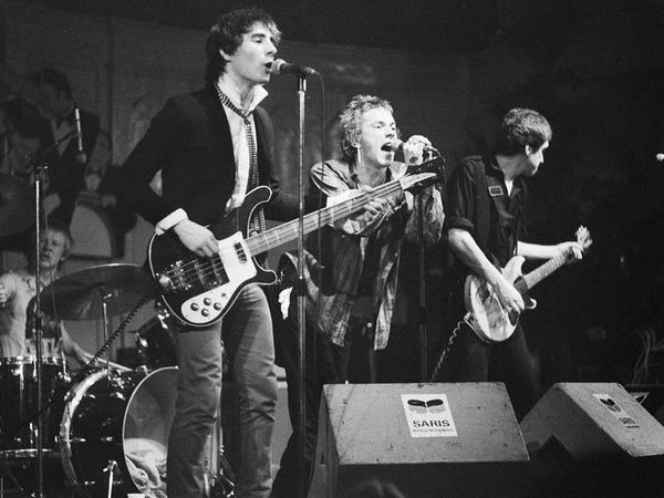 Johnny Rotten (centre) with the Sex Pistols in 1977.