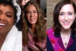 Gabrielle Union, Jennifer Aniston og Rachel Brosnahan voru á náttfötunum á verðlaunahátíðinni í gær.