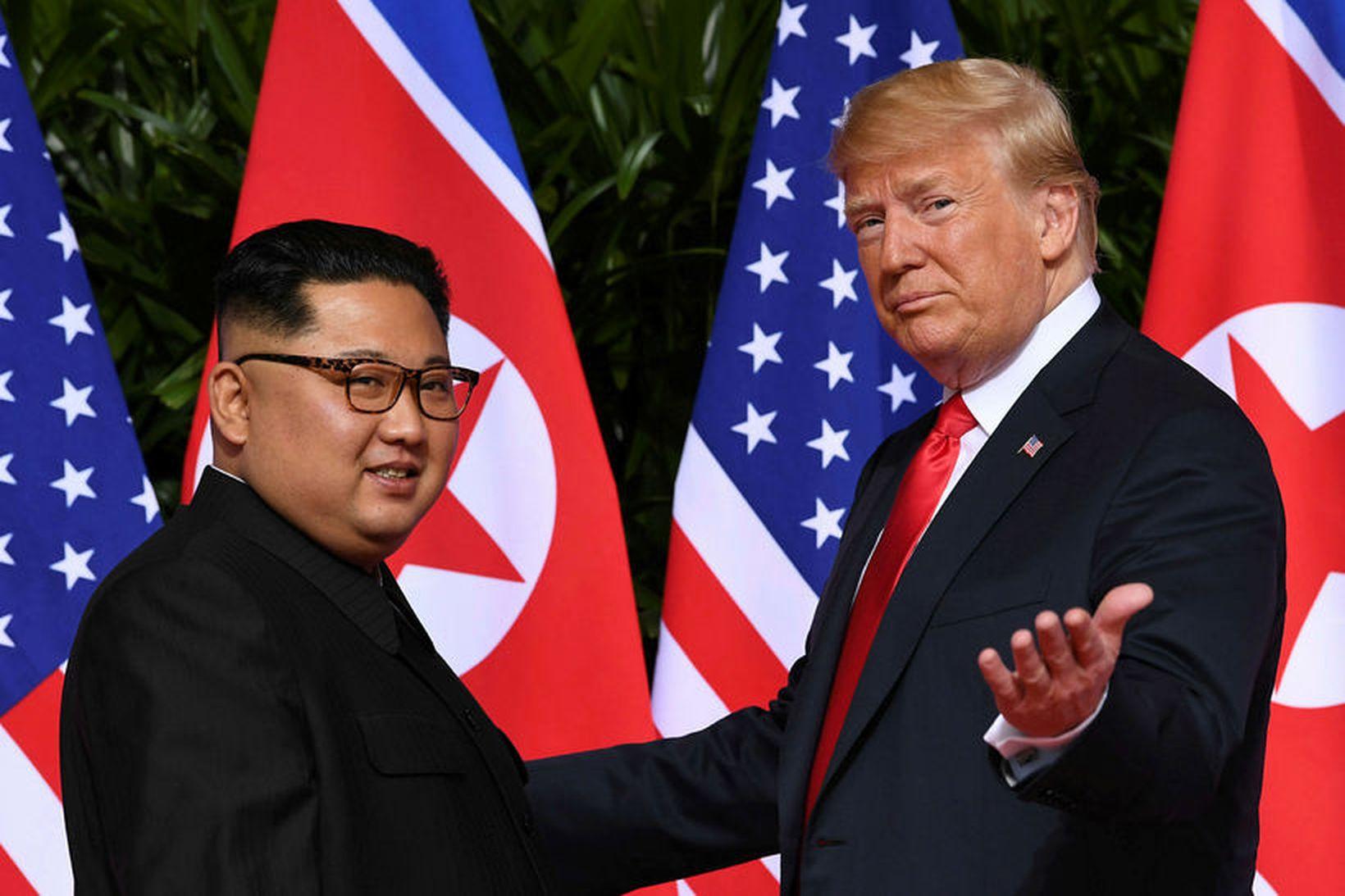 Donald Trump og Kim Jong-un áttu sögulegan fund í júní …