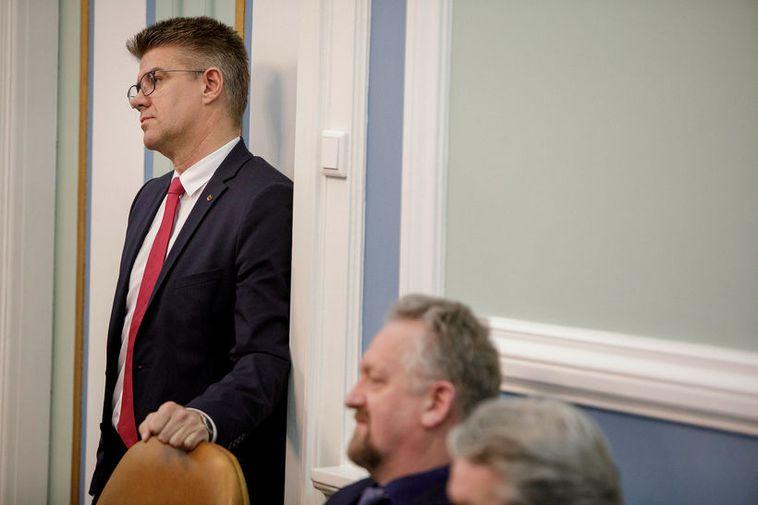 Gunnar Bragi Sveinsson at Parliament.