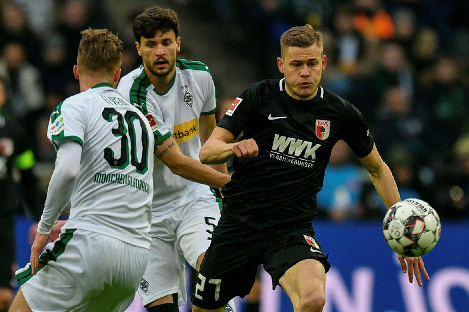 Alfreð Finnbogason fór af velli á 68. mínútu gegn Werder …
