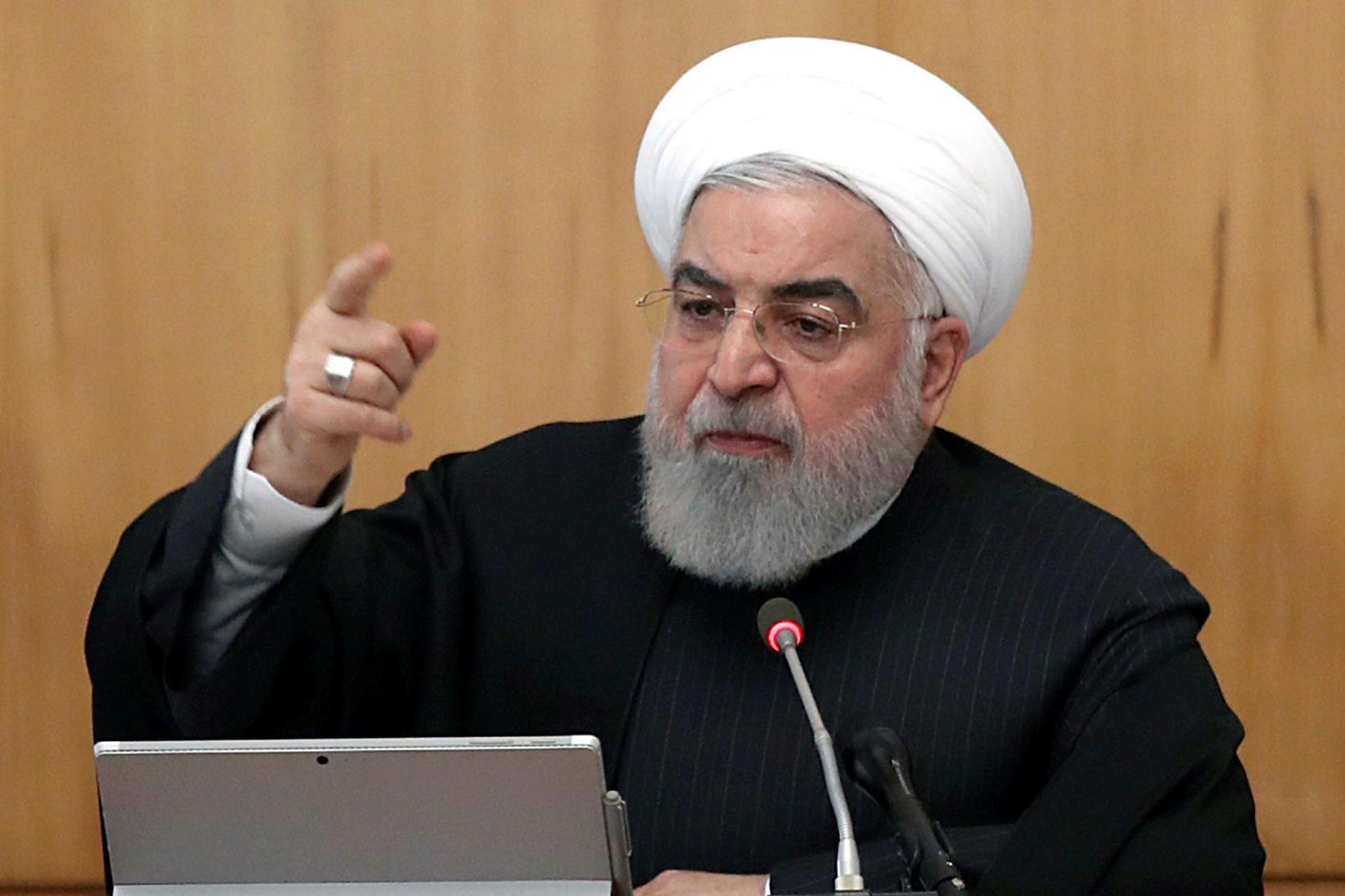 Hassan Rouhani forseti Írans flutti sjónvarpsávarp í dag að loknum …