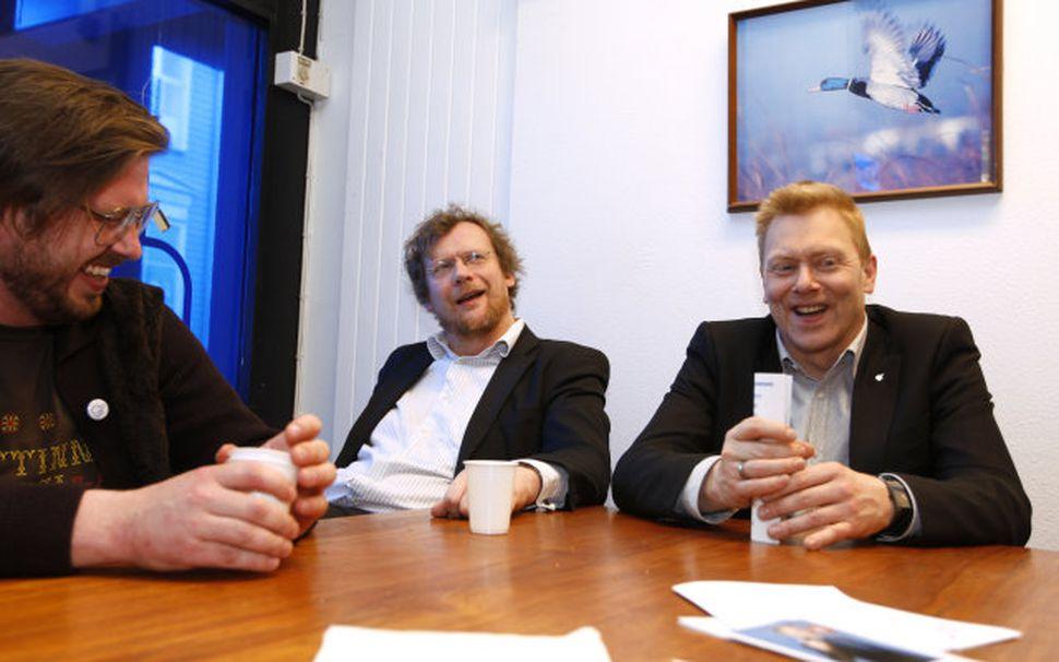 Jón Gnarr og Sigurjón Kjartansson á fundi Besta flokksins.