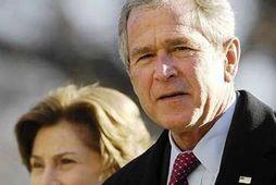 Bandarísku forsetahjónin, Laura og George W. Bush.