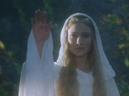 Galadriel, the Lady of Lórien as she appears in Peter Jackson's film version of Tolkien's …