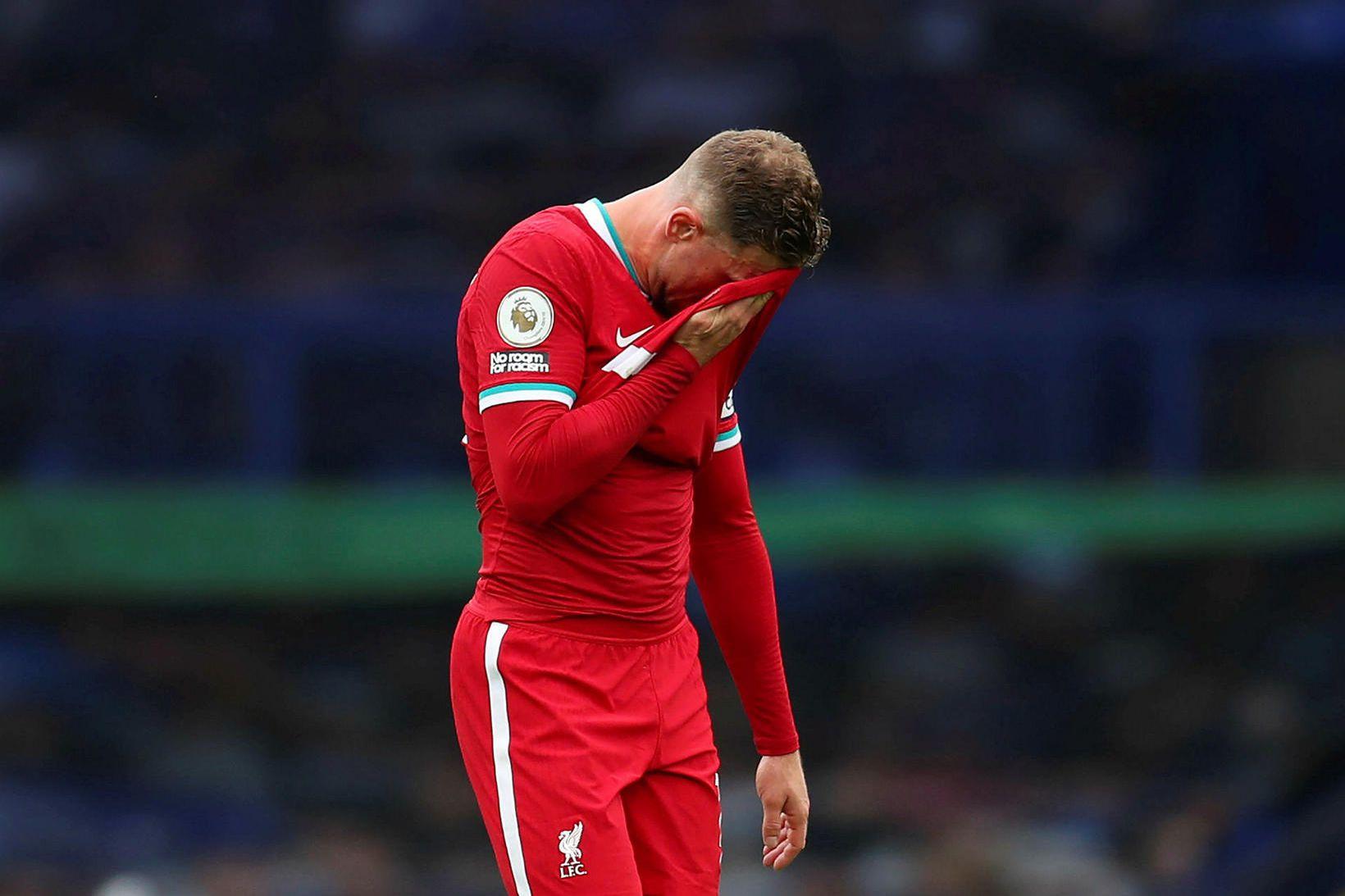 Jordan Henderson skoraði mark í lok leiks Liverpool og Everton …