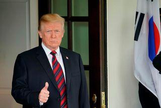 Donald Trump fundaði með forseta Suður-Kóreu, Moon Jae-in, í Hvíta húsinu í dag.