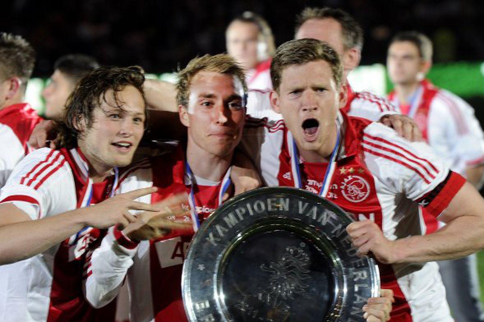 Daley Blind og Christian Eriksen voru liðsfélagar hjá Ajax fyrir …
