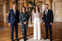 Guðni Th. Jóhannesson, Eliza Reid, Mary krónprinsessa og Friðrik krónprins í höllinni í Kaupamannahöfn.
