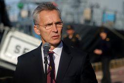 Jens Stoltenberg ræddi við fréttamenn í hafnarborginni Odessa í Úkraínu í dag.