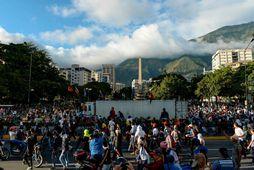 Mótmælt í Caracas, höfuðborg Venesúela, í síðustu viku.