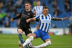 Ben White í leik með Brighton gegn Manchester City í vor.