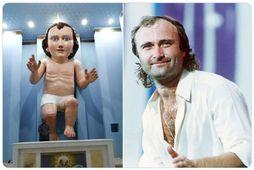 Það er óneitanlega sterkur svipur með Jesúbarninu og Phil Collins.