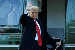 Trump kvaddi Washington í janúar.