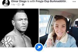 Elmar Diego og Freyja Ösp Burknadóttir eru nýtt par.