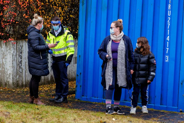 People waiting to be tested for the coronavirus in Reykjavík.