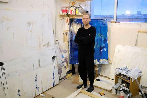 Steingrímur Gauti in front of some of his works. His exhibition opens on Friday