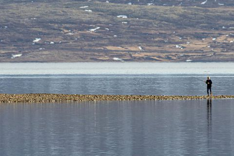 An angler in Eskifjörður yesterday.