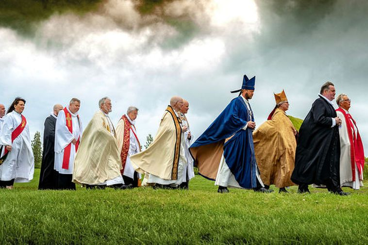 Procession in Skálholt, South Iceland, on Sunday.