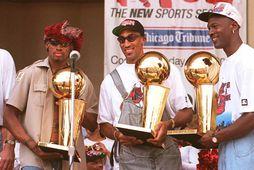 Michael Jordan vann NBA-deildina sex sinnum með Scottie Pippen og þrívegis með Dennis Rodman.