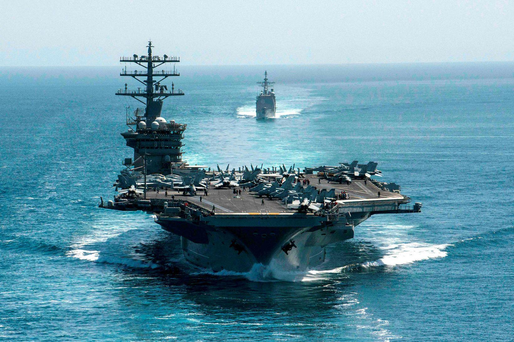 Flugmóðurskipið USS Nimitz. Stærð flota bandaríska sjóhersins hefur nánast staðið …