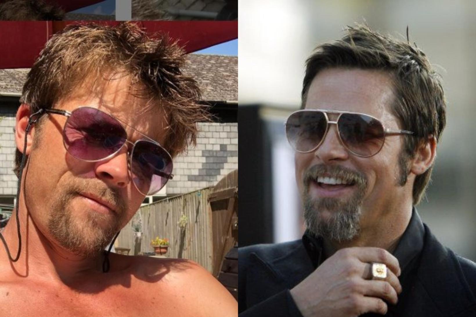 Nathan Meads, tvífari Brads Pitts, og leikarinn Brad Pitt eru …