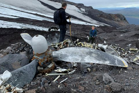 Pieces from the wreck on Eyjafjallajökull glacier.