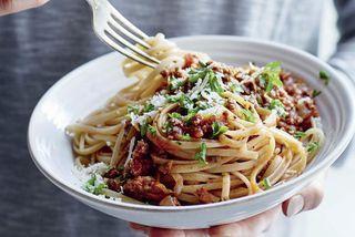Spaghettí og kjötsósa er algjört lostæti.