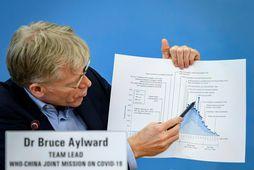 Bruce Aylward sýnir þróun kórónuveirunnar á blaðmannafundi í höfuðstöðvum Alþjóðaheilbrigðismálastofnunarinnar.