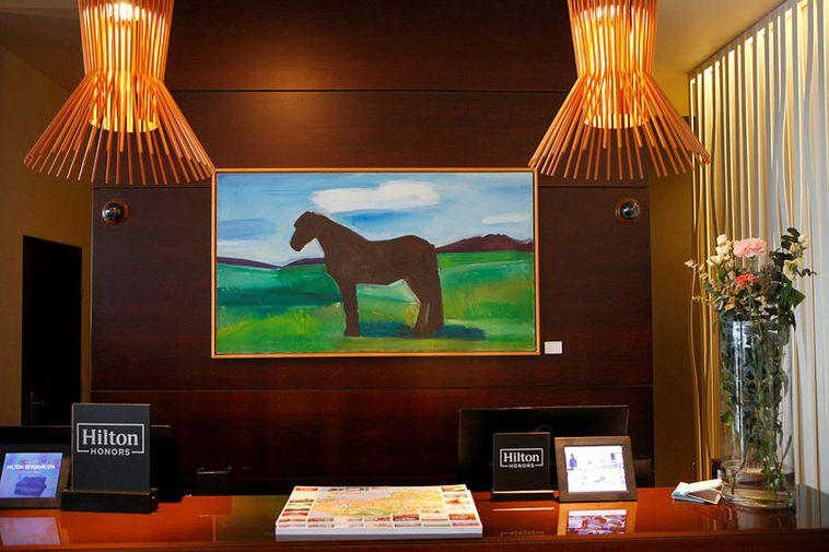 A painting by Louisa Matthíasdóttir, at the Hilton Reykjavík Nordica.