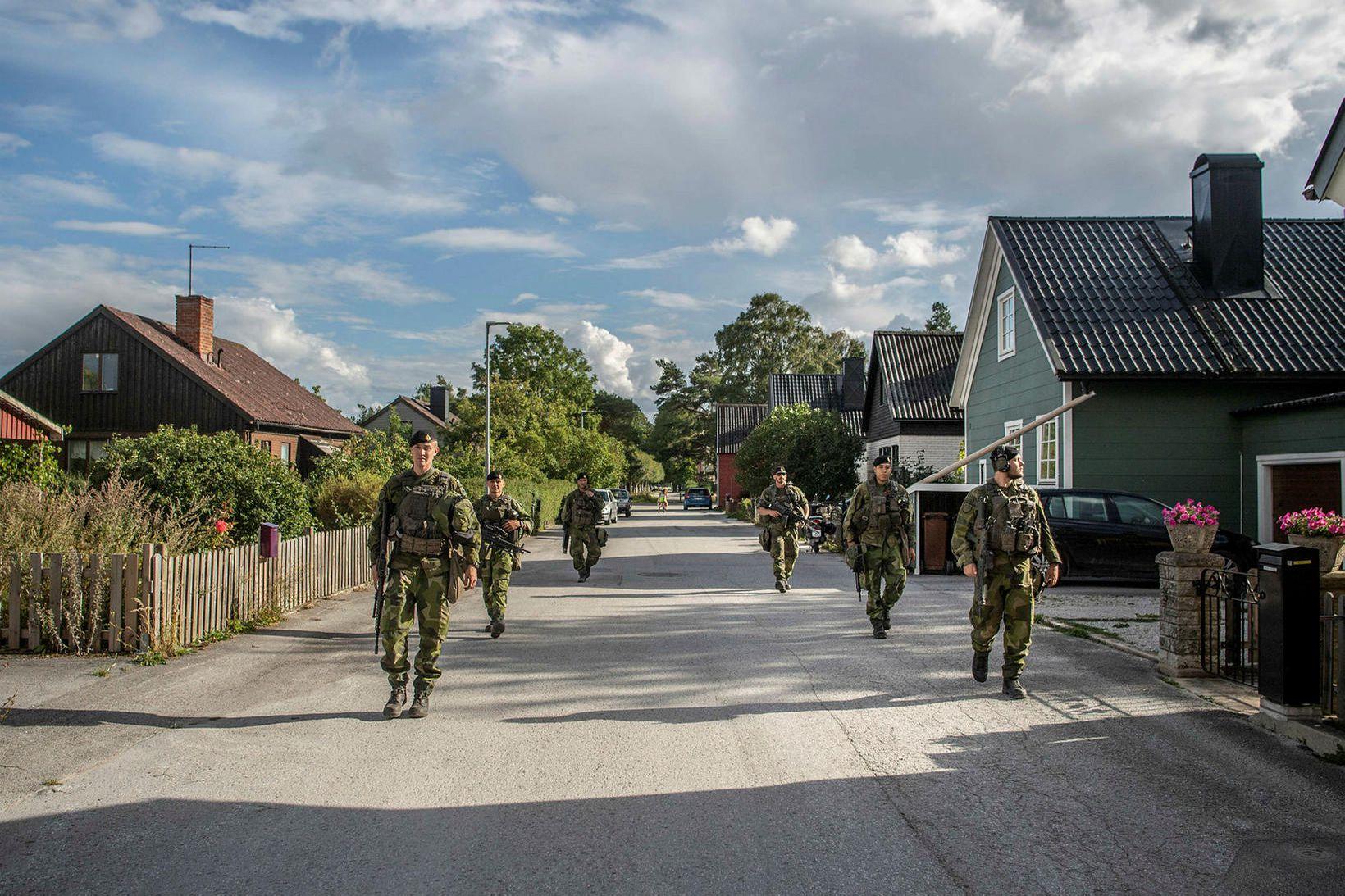 Sænskir hermenn á eyjunni Gotland í Eystrasalti.