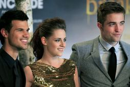 Taylor Lautner ásamt Kristen Stewart og Robert Pattinson.