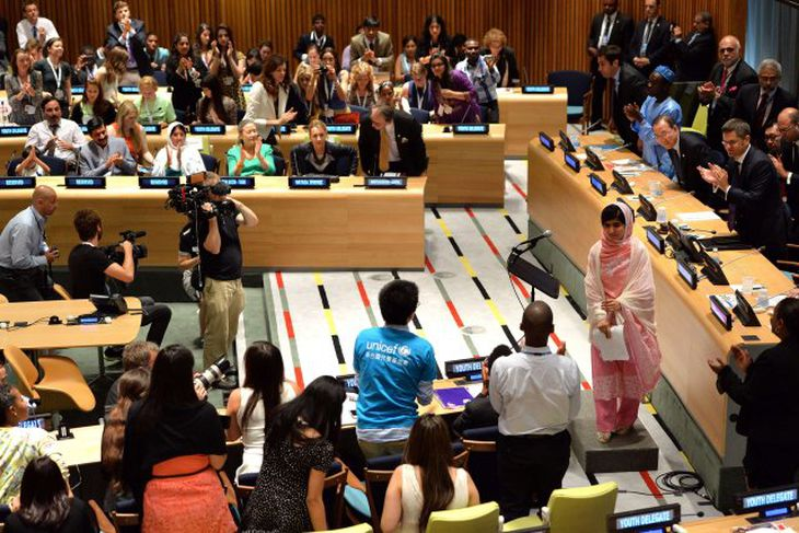 Malala fékk standi lófaklapp að lokinni ræðunni.