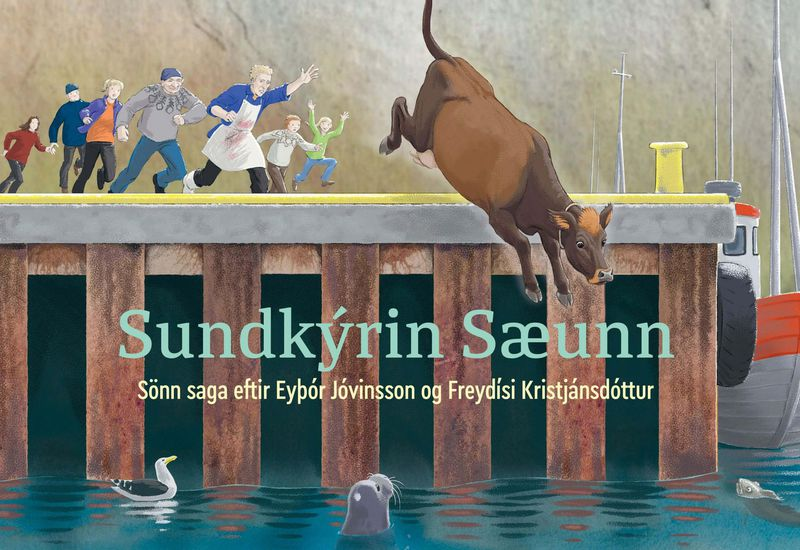 The cover of the book about the swimming cow, Sundkýrin Sæunn.