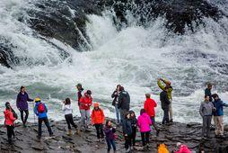 Erlendir ferðamenn við Gullfoss. Suðurland er vinsæll áfangastaður ferðamanna allt árið um kring. Mynd úr …