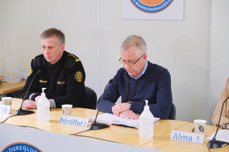 Víðir Reynisson, chief superintendent, and Þórólfur Guðnason, chief epidemiologist, at yesterday's press conference.