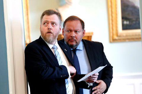 Sigmundur Davíð Gunnlaugsson ásamt Bergþóri Ólasyni, þingmanni Miðflokksins.