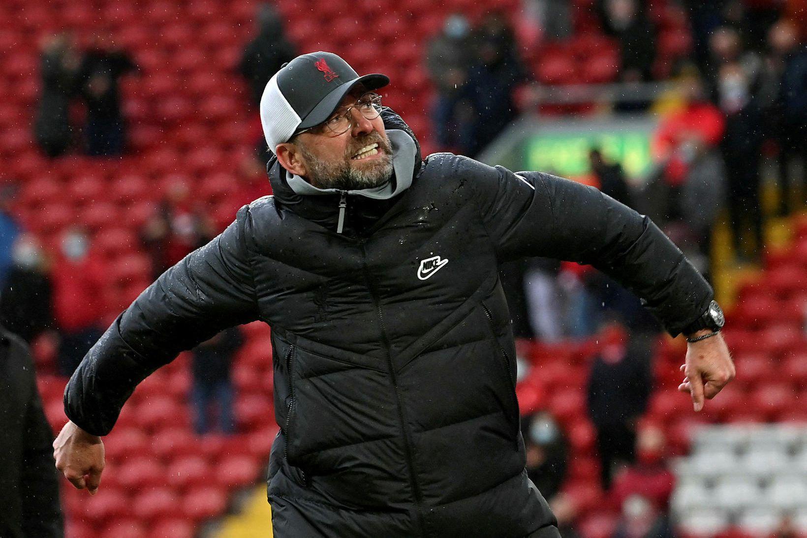 Jürgen Klopp, knattspyrnustjóri Liverpool, var ánægður með endann á tímabilinu …