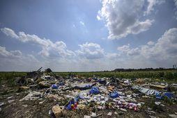 Frá brotlendingarstað vélar Malaysia Airlines, flugleið MH17, á engi nærri þorpinu Grabove, í Donetsk héraði.