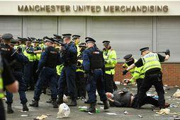 Frá mótmælunum við Old Trafford í dag.