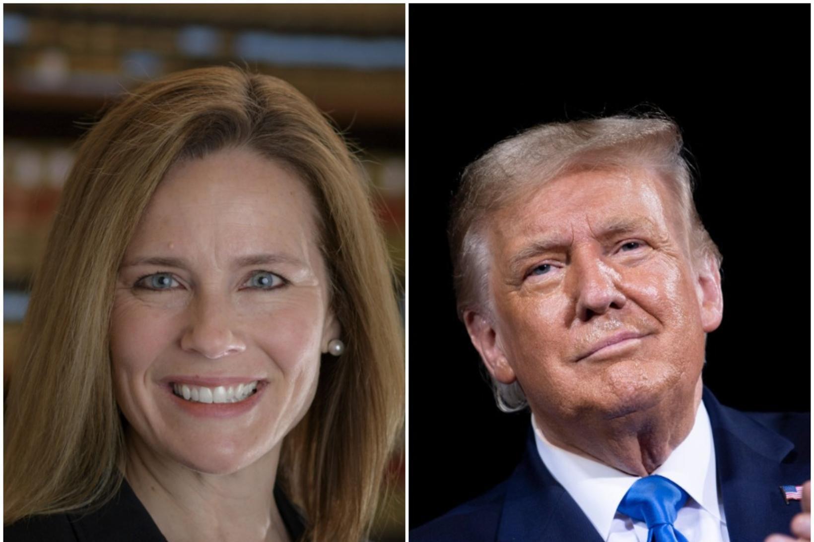 Amy Coney Barrett og Donald Trump Bandaríkjaforseti.