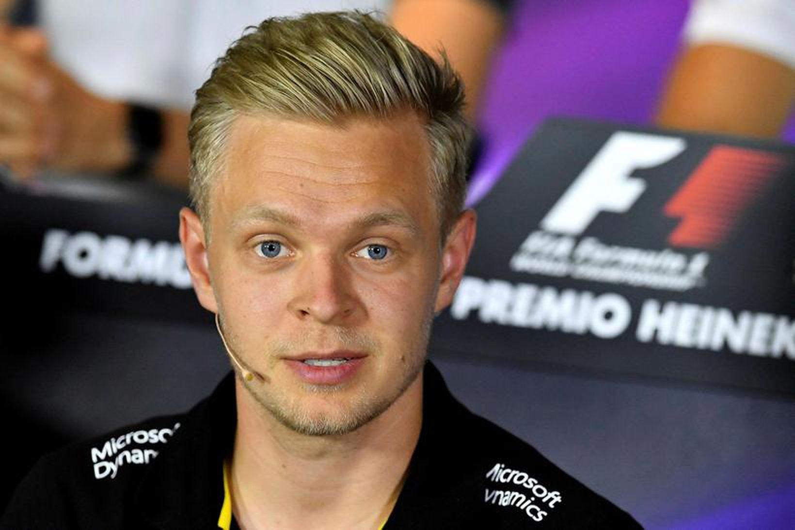 Kevin Magnussen var stálhress á blaðamannafundi í Monza í gær.