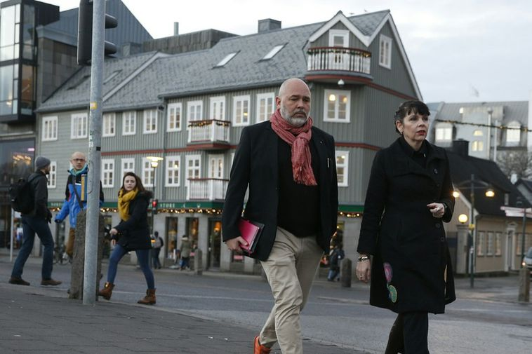 Logi Már Einarsson, leader of the Social Democratic Aliance (left) and Pirate MP Birgitta Jónsdóttir ...