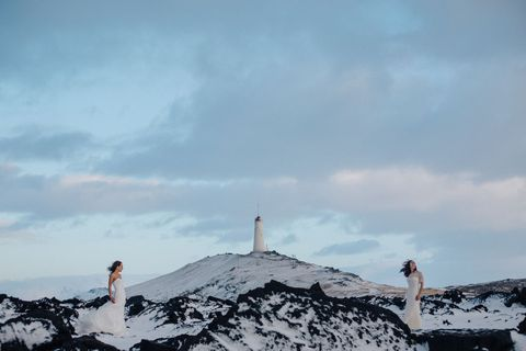 Pink Iceland wedding photo.