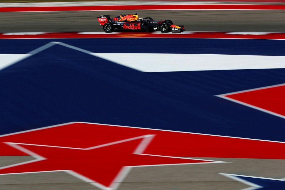 Max Verstappen á ferð í Austin í dag.