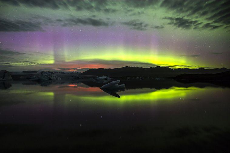 Northern Lights, Jökulsárlón and a volcano.