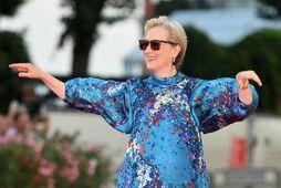Meryl Streep flott og gráhærð í september.